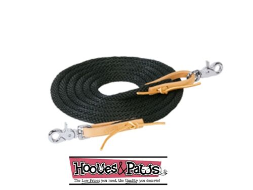 BLACK WEAVER 10 FT POLY ROPER REIN LEATHER WATER LOOP ENDS W// SNAPS HORSE TACK