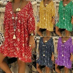 Women-Cotton-Ethnic-Long-Shirt-Top-Floral-Print-Oversize-Tunics-Blouse-Plus-Size