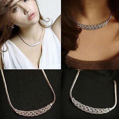 Women Pendant Chain Crystal Choker Chunky Statement Bib Charm Necklace Jewelry