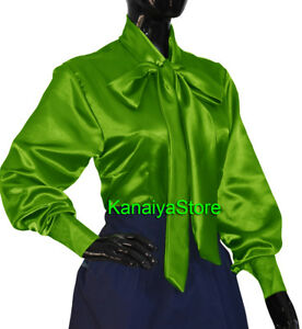 Neon-Green-Satin-Women-long-sleeve-Bow-Blouse-Top-High-Neck-Shirt-SMALL-SIZE