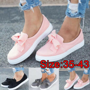 cff3ca810 New Womens Girls Trainers Slip On Flat Bow Decor Sneakers Pumps ...