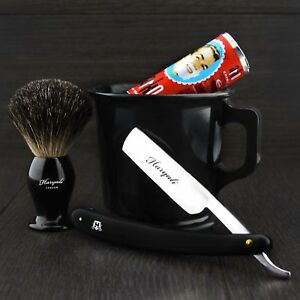Old Barber Style Classic Shaving Starter Kit Mug Brush Soap And