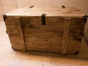 Das Bild Wird Geladen Brennholzkiste Kaminholzkiste Kiste Rustikal Holztruhe Geflammt Mit Metallecken