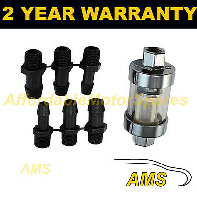 """1/4"""" 5/16"""" 3/8"""" MULTI FIT SMALL IN LINE FUEL FILTER CHROME METAL & GLASS x1"""