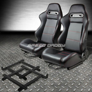 ... -LEATHER-STITCH-RACING-SEAT-LOW-MOUNT-BRACKET-FOR-99-04-FORD-MUSTANG