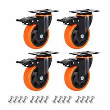 4 Caster Wheels Set Of 4 Heavy Duty Casters With Brake Safety Dual Locking C
