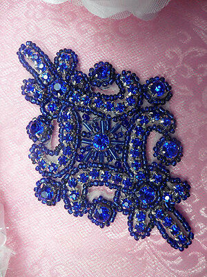 "Fuchsia Applique Crystal Rhinestone Silver Beaded Sewing Patch 4/"" JB115"