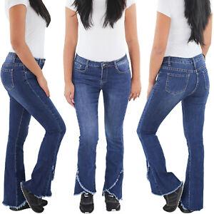 SOTALA-Damen-Schlaghose-Bootcut-Flared-Stretch-Hueft-Jeans-Hose-5-Pocket-Blau