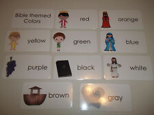 10 pack Bible themed Colors flashcards.  Preschool Bible study curriculum activi