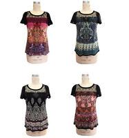 Bila Womens Paisley Printed Top With Sheer Lace Chiffon Yoke Black Boho Shirt