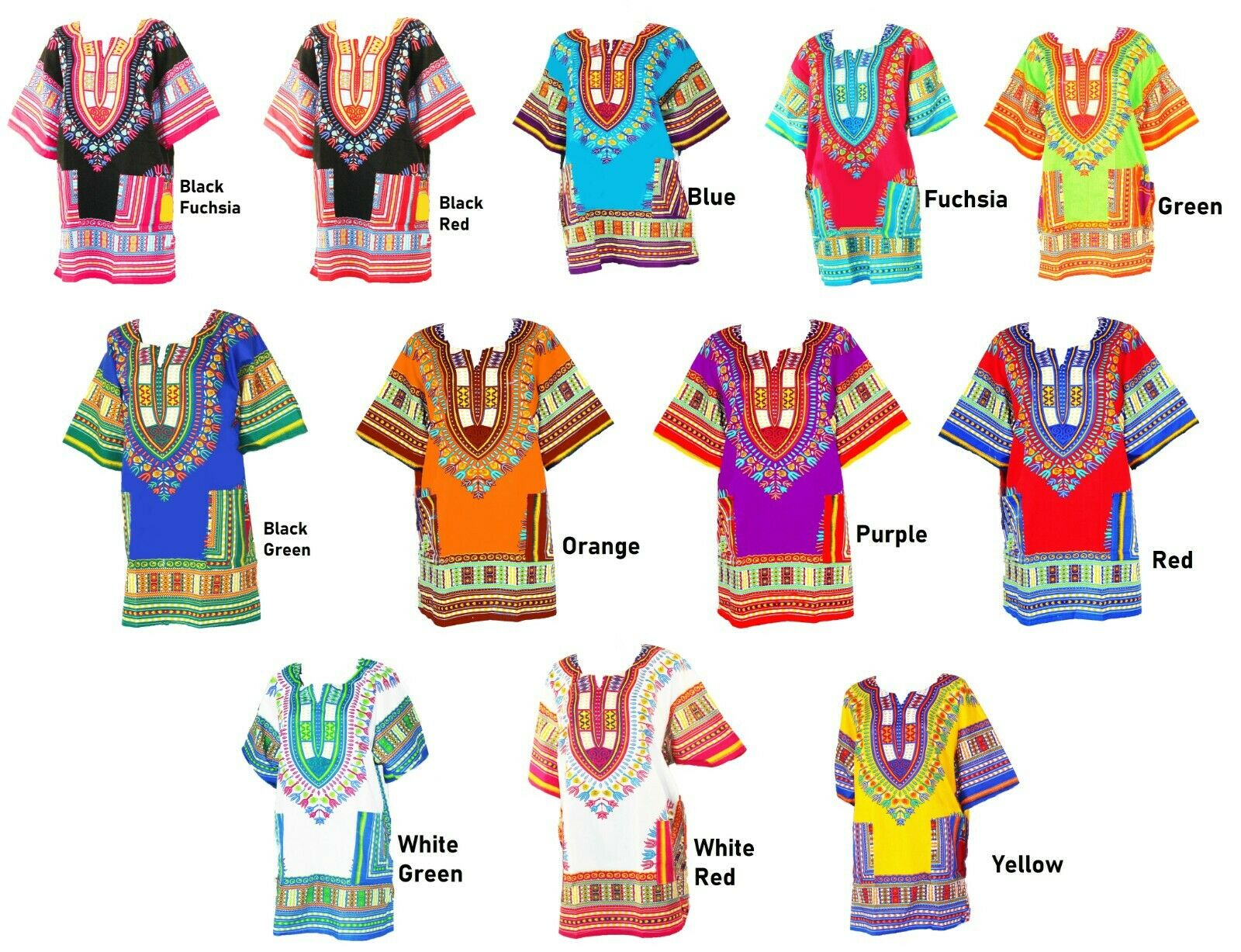 Women Traditional African Print Dashiki Dress 3//4 Sleeve Party Shirt Plus Size