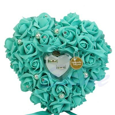 NEW Elegant Rose Wedding Favors Heart Shaped Design Gift Ring Box Pillow Cushion