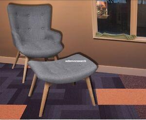 Image Is Loading Retro Lounge Armchair Grey Fabric Chair  Scandinavian Furniture