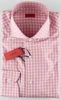 NWT ISAIA DRESS SHIRT checks white pink luxury handmade Italy 40 15 3/4