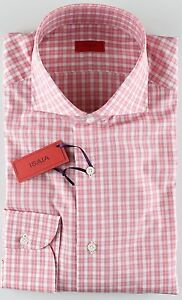 NWT-ISAIA-DRESS-SHIRT-checks-white-pink-luxury-handmade-Italy-40-15-3-4