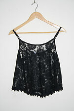 Atmosphere Woman's Semi Transparent Top Vest Spaghetti Strap Black Floral Size14