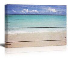 "Canvas Prints Wall Art - Tropical Beach on Vintage Wood Background - 16"" x 24"""
