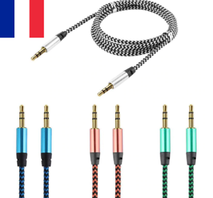 Cable-audio-Jack-Renforce-Raccordement-Tresse-3-5mm-Double-Male-Stereo-1M