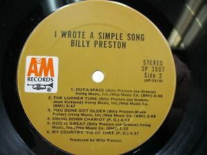 """BILLY PRESTON I Wrote A Simple Song 12"""" LP A&M SP 3507 Rock / VG c VG"""