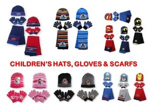 a26618884d4925 Image is loading CHILDRENS-BOYS-GIRLS-CHARACTER-WINTER-HAT-GLOVES-SCARF-