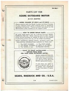 Vintage 1960s Sears Outboard Motor Parts Catalog 35 Hp Electric Ebay