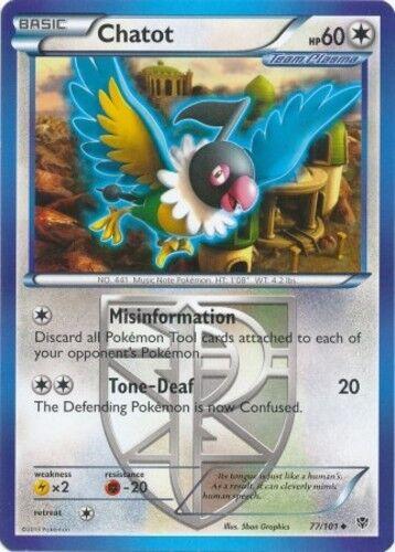Reverse Holo Pokemon BW10 Plasma Blast M//NM Eng x4 Chatot Uncommon 77//101