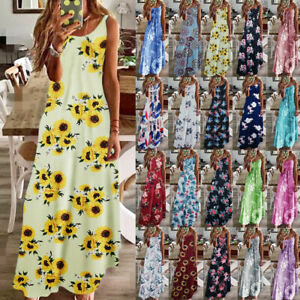 Womens Floral Beach Pullover Maxi CAMI Sundress Ladies Loose Long Slip Dresses