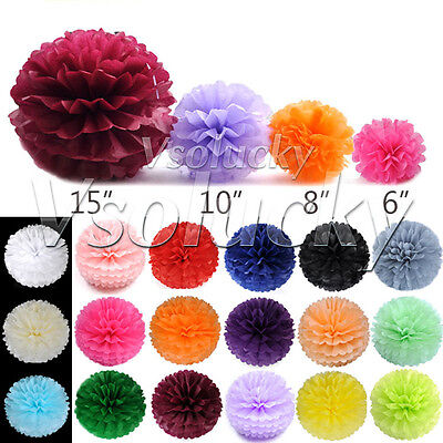 "6""/8""/10""/15"" Tissue Paper Pom Poms Flower Balls Wedding Party Decoration Favors"