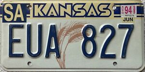 GENUINE-American-Kansas-Ears-of-Wheat-License-Licence-Number-Plate-Tag-EUA-827