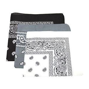 3x Motif Paisley Bandana Tête   Écharpe (Noir Et Blanc   Gris)   eBay d374d9561a0
