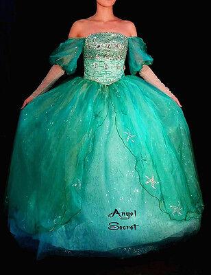 FP142 COSPLAY Dress Princess Ariel sequins teal sea star crystal