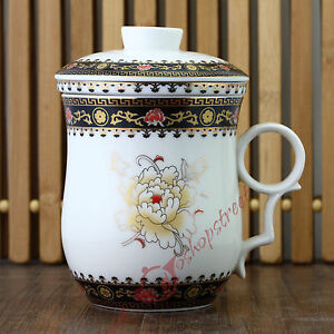 270ml-Poeny-Flower-Ceramic-Porcelain-Tea-Cup-Coffee-Mug-with-lid-Infuser-Filter