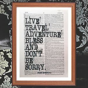 Details About Jack Kerouac Dictionary Page Quote Art Print Books Gift Quotes