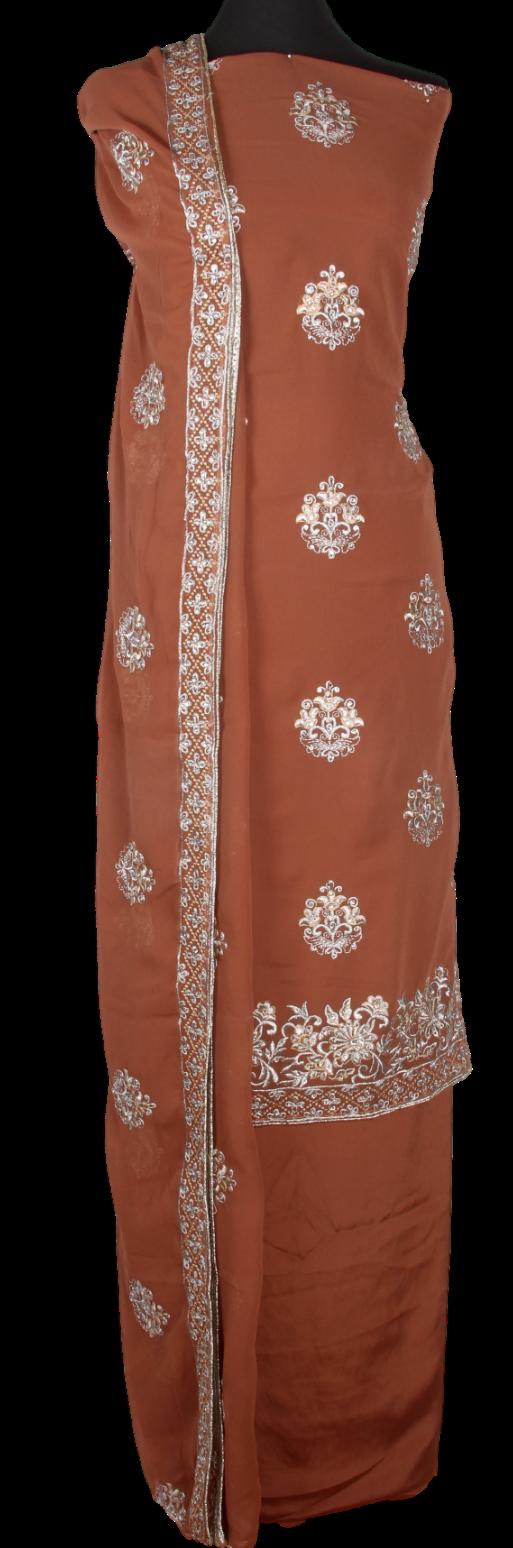 4 Piece Embroidered Georgette Salwar Kameez with Chiffon Dupatta
