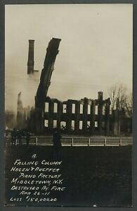 Middletown-NY-1911-RPPC-Real-Photo-Postcard-HAGEN-amp-RUEFFER-PIANO-FACTORY-FIRE