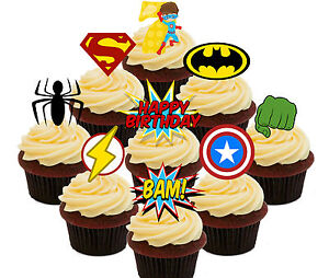 Image Is Loading 7th Birthday Superhero Edible Cup Cake Toppers 36