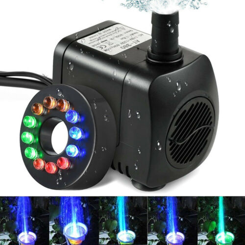 Electric Submersible Water Feature Fountain Pump 12LED Light Pond Garden Pool UK
