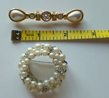 Lot of Two Faux Pearl Clear Rhinestone Bar Pin Round Brooch  MONET  Unmarked