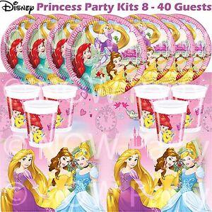 Disney princess filles plaques tasses serviettes tablecover party kits 8 - 40 invités  </span>