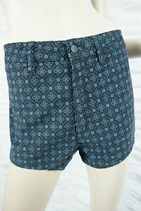 WRANGLER-navy-blue-velvet-gothic-pattern-high-waisted-cheeky-shorts-size-13-BNWT
