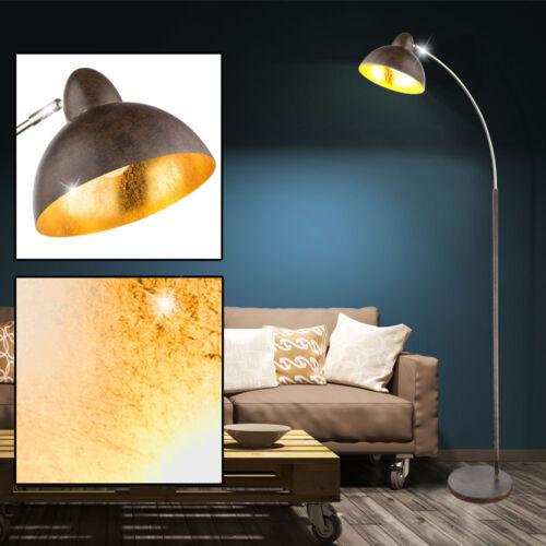 Stand Lampe Metall ROST-Farben BLATT-GOLD Design Antik Retro Steh Lese Leuchte