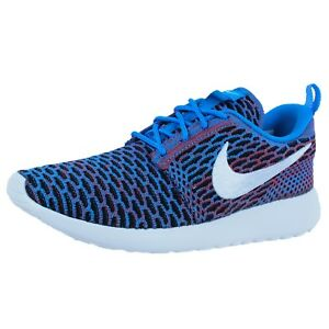 8994871e1c6d5 NIKE WOMENS ROSHE ONE FLYKNIT CASUAL SNEAKERS PHOTO BLUE WHITE RED ...