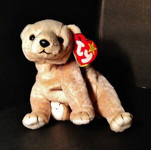 Ty Beanie Babies Almond the Bear, New with Tags, P.E. Pellets, 1999 Retired