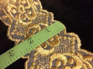 Antique-Lace-Silk-Gold-Floral-VTG-Sewing-Dolls-Costume-Art-Nouveau-56-034