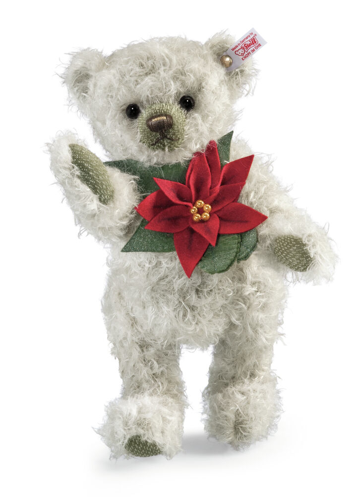 STEIFF Mohair Poinsettia Teddy bear Ltd Ed EAN 035463