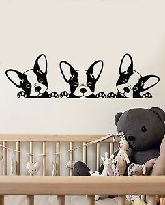 Image is loading Vinyl-Wall-Decal-Puppies-Pets-French-Bulldog-Animals- & Vinyl Wall Decal Puppies Pets French Bulldog Animals Stickers ...