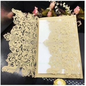 Details About Champagne Laser Cut Wedding Favour Invitation Card Engagement Innercard Envelope