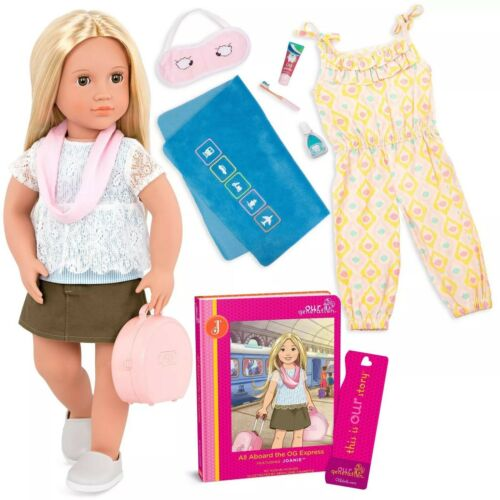 "Extras Our Generation 18/"" Travel Doll JOANIE with Book Blonde//Green Eyes NEW"