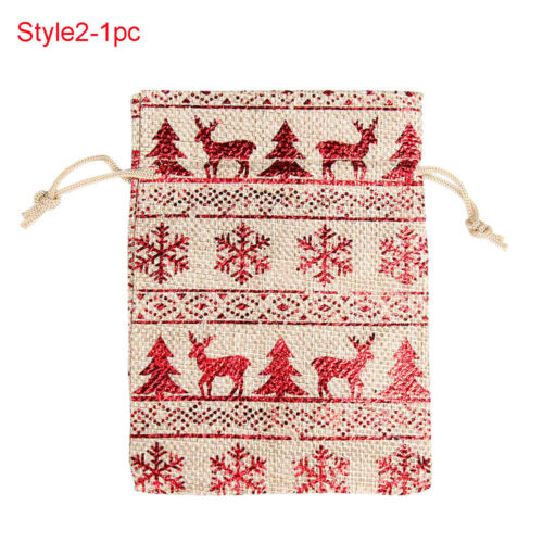 Wedding Favor Candy Organizer Merry Christmas Drawstring Pouch Jute Gift Bags