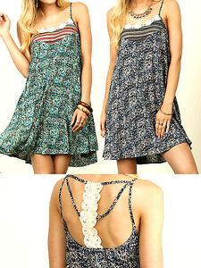 Umgee-Dress-Size-XL-S-M-L-Lace-Back-Tank-Tunic-Shift-Free-Boho-People-Womens-New